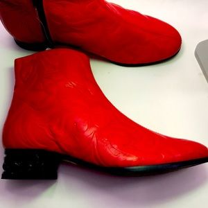 Miista red leather booties, size 37/7 or 6.5